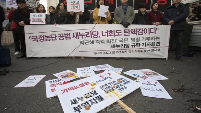 韩国民众再示威,撕毁执政党党旗