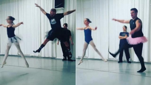 当老爸们排队跳芭蕾,这画风……