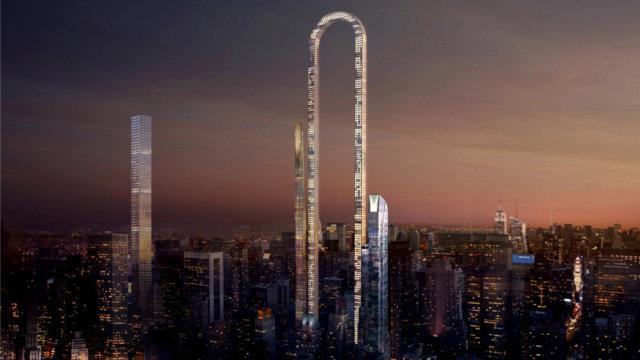 曼哈顿拟建世界最长楼:形状像别针
