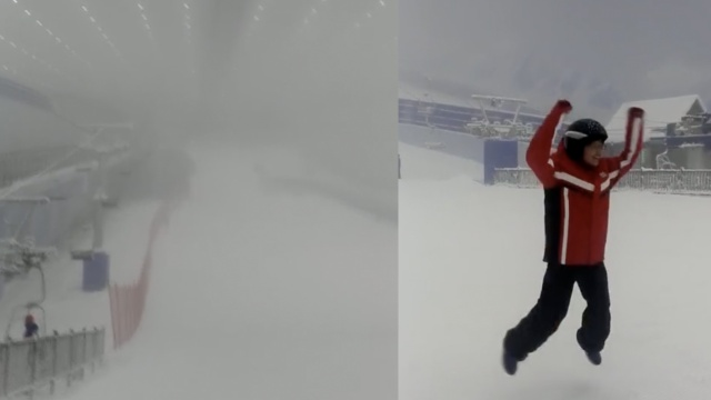 抢先体验!最大室内滑雪场开始造雪