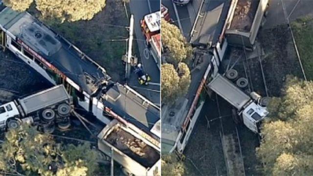 墨尔本重型卡车撞击电车,29伤