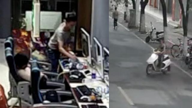 他1小时跑2网吧,偷走摩托车和手机