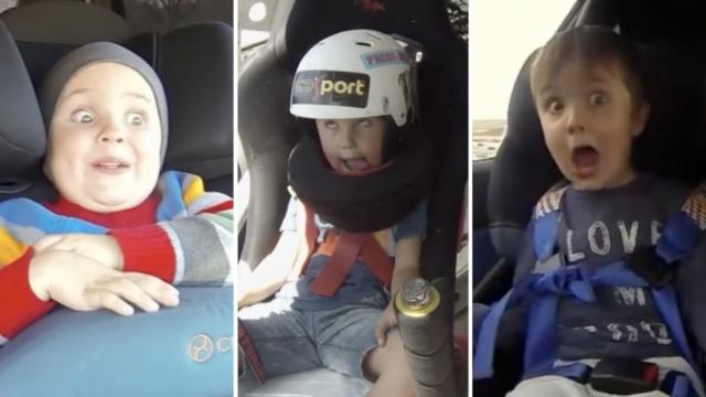 奶爸每年带娃飙车,宝宝吓成表情包