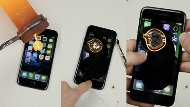 融化的黄金倒在苹果手机上,啥反应