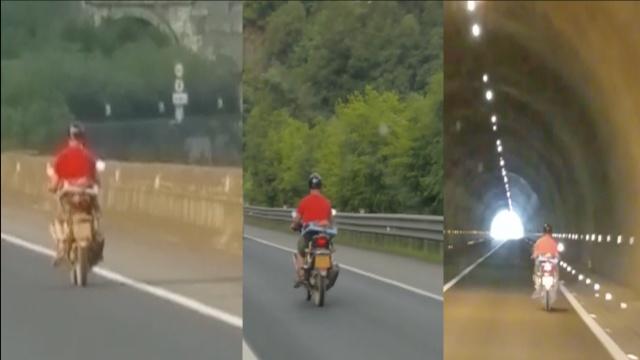 摩托上高速,执法队员追喊十多公里