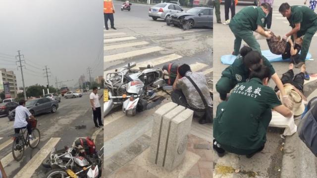 他骑摩托撞轿车,连同老父母被撞飞