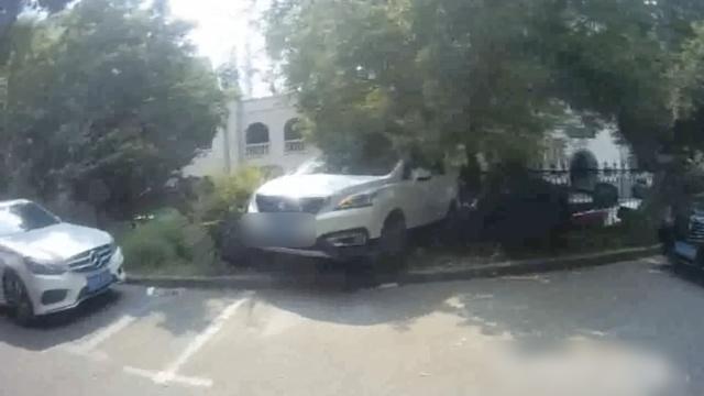 女司机倒车一脚油门,小车上了墙