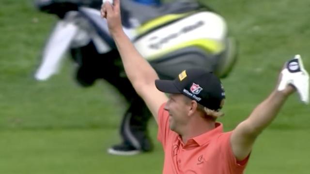 超神!高尔夫球手150米开外一杆进洞