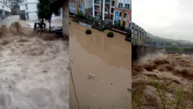 台风天鸽肆虐西南,川滇多城镇被淹