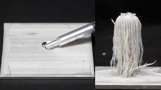 神奇化学:铝板上竟长出了白色假山