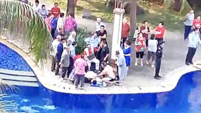 海南一泳池男子溺水,游客全力急救