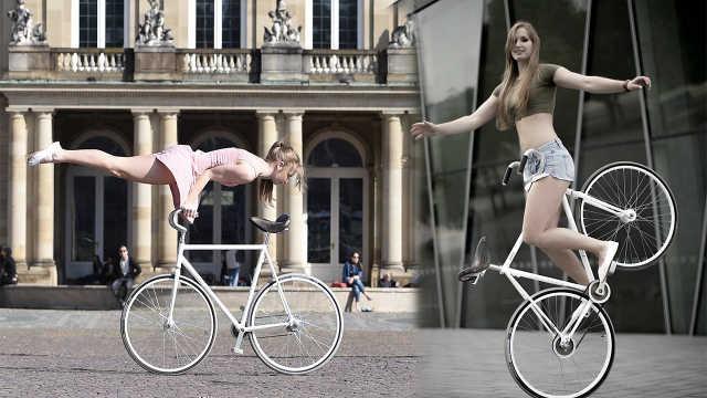 直播:爱挑战的美女!单车上的体操