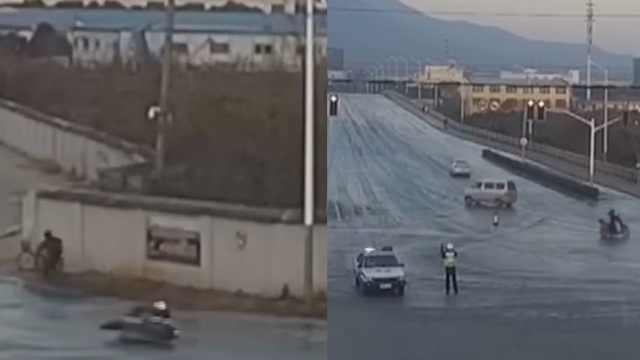 路面洒水结冰多行人摔倒,两人被拘