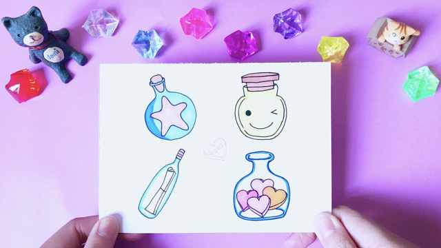 domi教你画4款萌萌的许愿瓶!