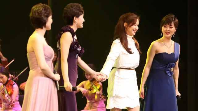 手牵手!韩国艺人与朝鲜艺术团同台