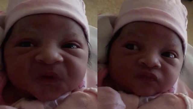 小婴儿摆臭脸,变身超逗表情包
