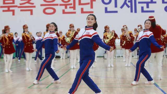 朝鲜拉拉队致谢演出,看哭韩国民众
