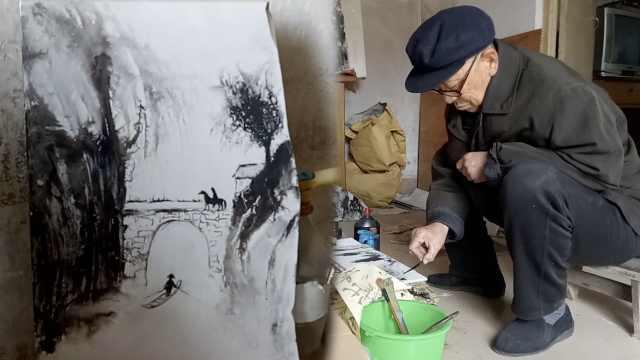 8旬老农自学成才,用竹片棉棒画山水
