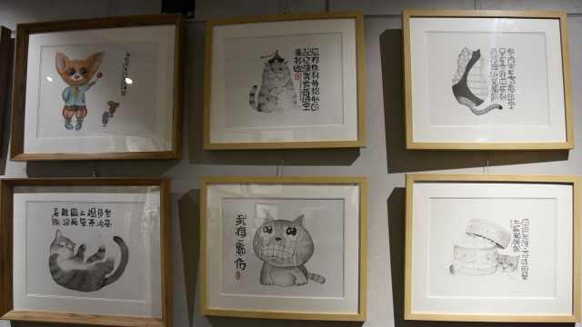 大叔1年画百幅猫,画里配