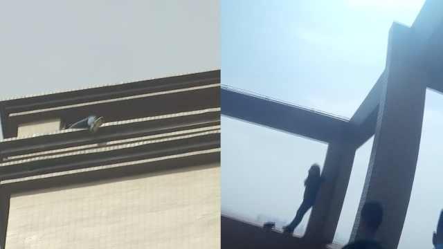 女子坐百米高楼,民警苦劝3小时救下