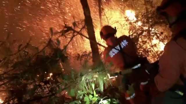 大理苍山大火持续,武警进火场扑救