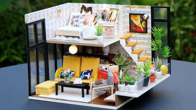 DIY现代风格装饰的迷你娃娃屋