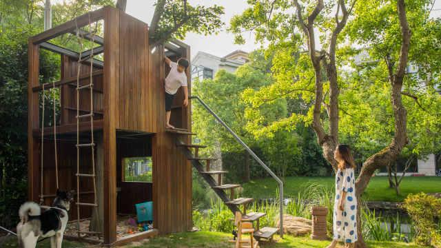 她为儿子打造600㎡的家,有树屋!