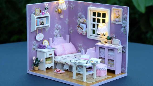 DIY迷你娃娃屋,全紫色系装饰风格