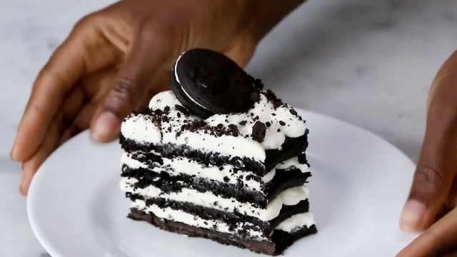 赞!2分钟学会高颜值奶油饼干蛋糕
