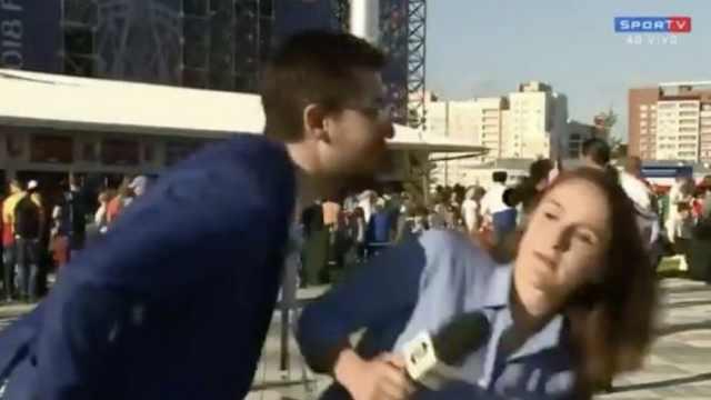 球迷强吻,女记者中断直播严厉指责
