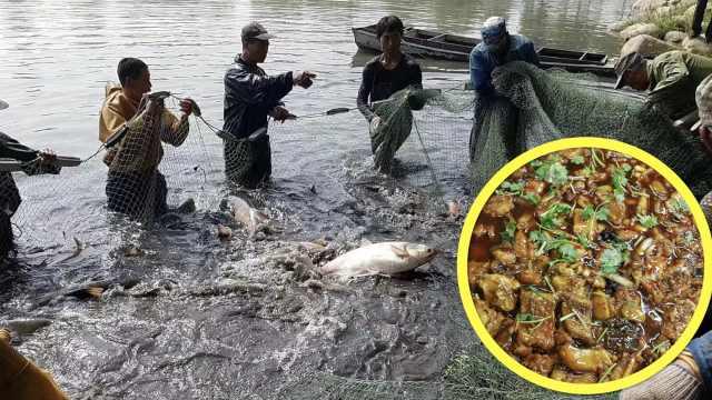 河北工大自家湖捞鱼,免费送学生吃