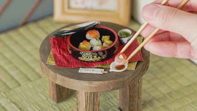 迷你小厨房做寿司,有趣的袖珍食玩