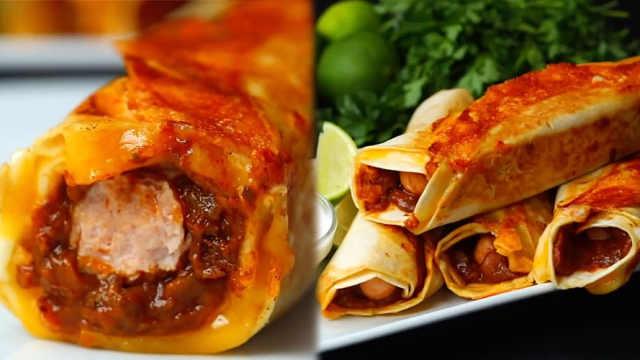 墨西哥风双层卷饼,满满芝士和辣酱