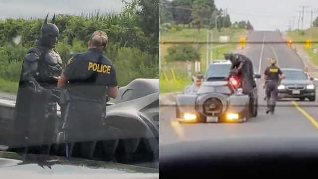 """""""蝙蝠侠""""公路开车,竟被警察拦下"""