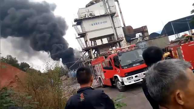 湘陰一攪拌公司起火,2人被燒傷