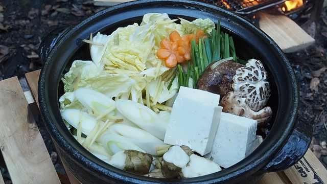 在野外烹饪蔬菜大杂烩