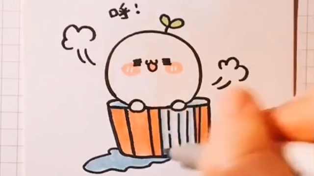 简单几笔教你冬日泡澡团画法!