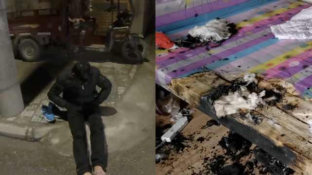 男子用电吹风捂被窝,烧了房又伤脚