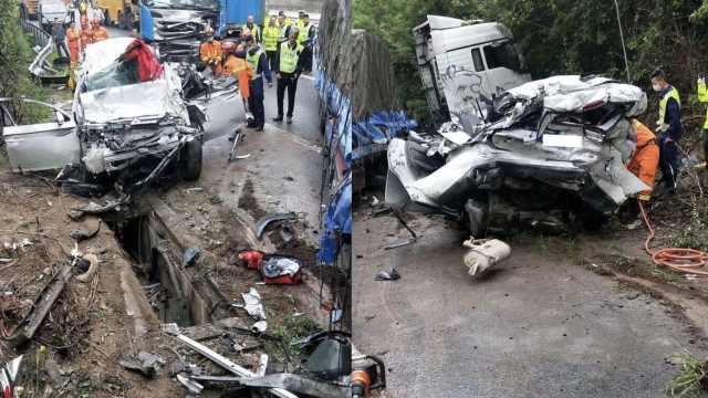 高速三车碰撞,越野车变形致4死7伤
