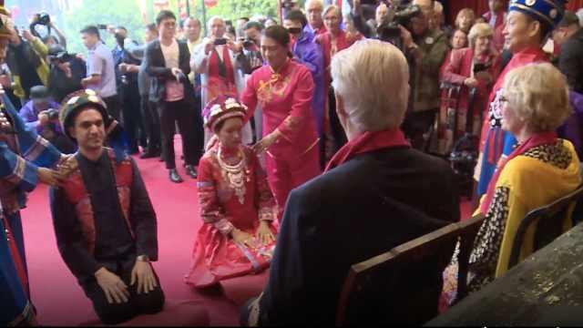 法国小伙迎娶土家姑娘,8国亲友迎亲