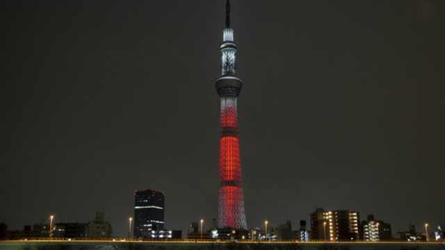 东京天空树为新冠肺炎疫情亮灯祈福