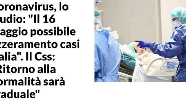 研究机构:意大利新增病例有望5月16日清零,重灾区4月22日清零