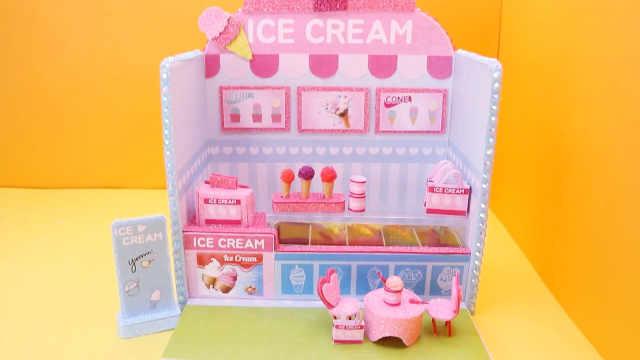 DIY迷你娃娃屋,美味可口的粉色冰激凌店
