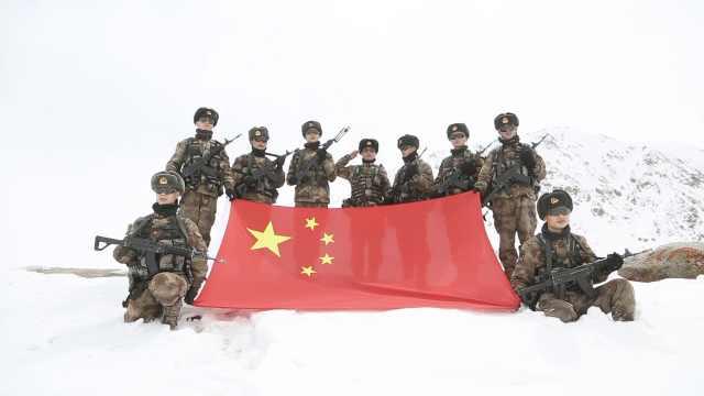 海拔5400米高原巡逻!边防战士在过膝积雪中跋涉6小时