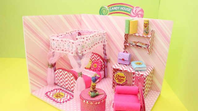 DIY迷你娃娃屋,甜蜜的粉色糖果屋