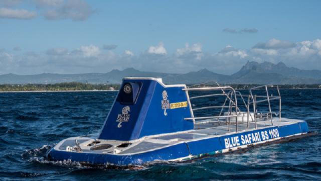 美女乘坐潜水艇,探索海底世界!