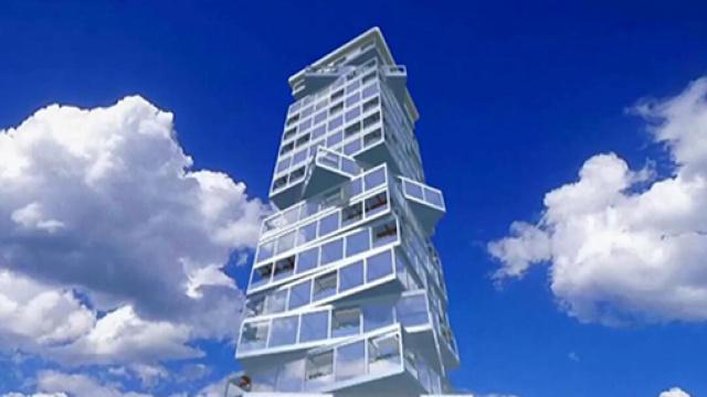 360度旋转的摩天大楼,24小时不停