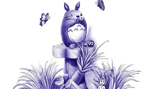 OY手绘圆珠笔画:龙猫绿植完整版