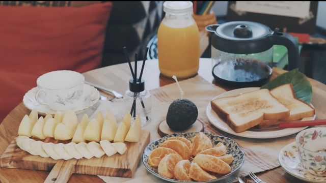 欣赏田园的风光,享受自助式早餐