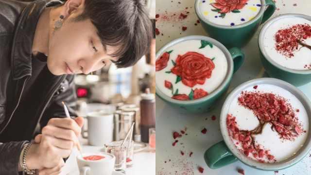帅哥咖啡上雕花,连梵高星空都能画